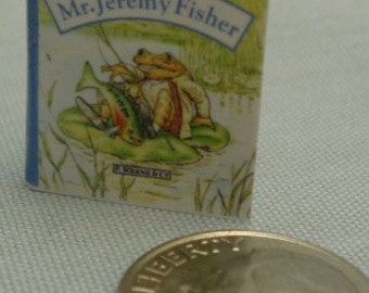 Miniature Mr. Jeremy Fisher Children's Book with Printed Pages