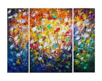 Original Abstract Palette Knife Triptych Large Oil Painting SUMMER FLOWERS by Luiza Vizoli 48x36