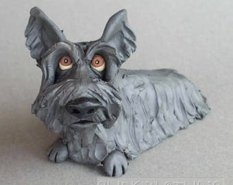 Scottish Terrier Scottie Dog Ceramic Sculpture