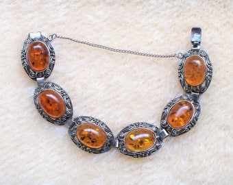 Sterling Amber Bracelet - Honey, Baltic, Amber, 925, Ornate, Signed