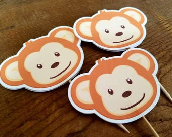 Monkey Birthday Party - Set of 12 Mod Monkey Cupcake Toppers by The Birthday House