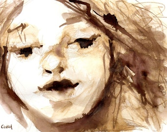 Portrait Art, Wall Decor, Original Ink Painting, Female Face Watercolor Painting, Brown and White, Sketch Book Series, Free Shipping