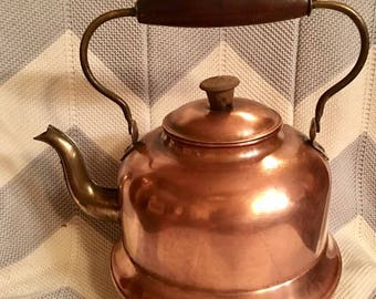 Vintage Copper Brass Kettle Teapot Wood Handle Made in Holland Home Decor
