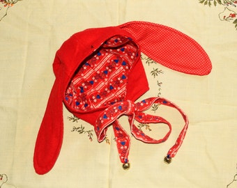 red wool flopsy eared bunny helmet with jingle bells fits adult