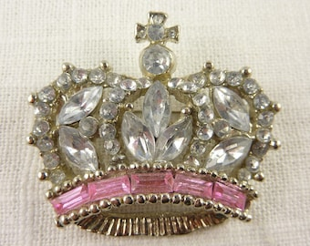 Vintage Silvertone Large Crown Brooch