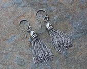 Antique Silver Tassel Earrings - rhodium plated brass chain tassels on antiqued sterling silver hooks- free shipping USA