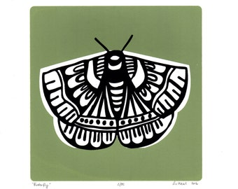 Butterfly Limited Edition Screen Print (Sage Green) A4 size