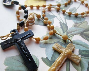 Vintage Rosaries, Vintage Cross, Crucifix, Biblical, Spiritual, Godly , Jesus Christ, Plastic 1950's beads, Plastic Rosary , Altar Art Decor