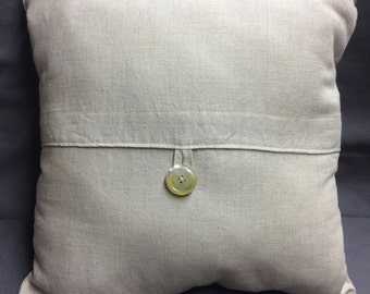 Linen Shabby Chic Pillow with Vintage Shell Button, So French Cottage, BoHo Chic!
