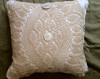 Vintage Crochet Doily Pillow with French Stamp print Waverly Linen, Vintage Buttons, So PaRiS rOMaNtiC!