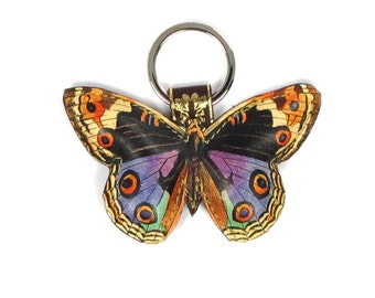 Leather butterfly keychain / key ring / bag charm - Colourful butterfly