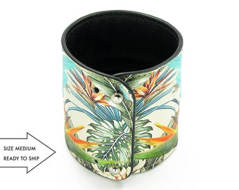 Leather Cuff Wallet also with Contactless Payment Chip  - Tropical jungle and parrot