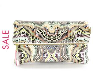 SALE! Printed Leather Clutch Bag / Purse / Handbag - Mela