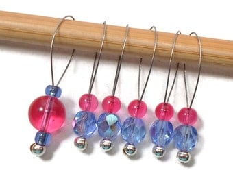 Stitch Markers Blue Cherry Pink Knitting Tools Accessory Beaded Markers Snagless DIY Knitting Snag Free Gift for Knitter Craft Supplies
