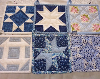 Shades of Blues Pot Holder Collection