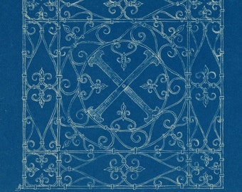 Vintage Architectural Blueprint - Wrought Ironwork in Turin and Siena