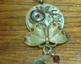 Butterfly on Pocket Watch Plate with Agate and Purple