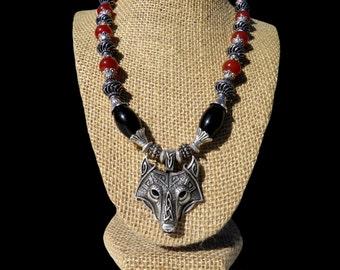 Viking Wolf Pendant Necklace, Tribal Norse Jewelry, Fenrir Wolf Necklace, Fenris Wolf Pendant, Nordic Myth Jewelry, Genuine Gemstone Beads
