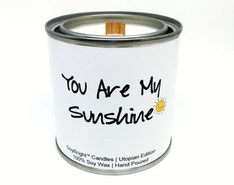 SoyBright™ Half Pint Paint Can Soy Wax Candle Gift | You Are My Sunshine Sentiment | Wooden Wick | Orange Spice | Soy Candle Tin - 8 ounces