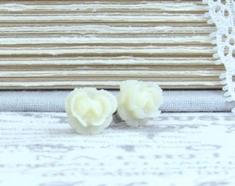 Rose Stud Earrings Cream Rose Earrings Small Rose Earrings Surgical Steel Studs Cream Flower Studs