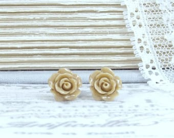 Beige Rose Studs Flower Stud Earrings Small Rose Earrings Beige Studs Beige Rose Earrings Surgical Steel