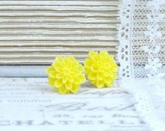 Yellow Mum Earrings Yellow Flower Studs Mum Stud Earrings Yellow Flower Jewelry Surgical Steel