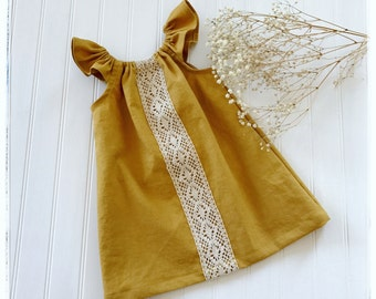 Girls linen dress, boho dress, flutter sleeves vintage linen dress baby linen boho dress mustard linen dress flower girl toddler linen dress
