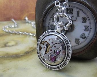 STeampunk pocket watch necklace - Steampunk Necklace - Repurposed Art