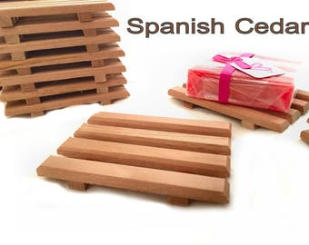 16 Spanish cedar wood soap dishes or natural poplar wood soap dishes - 1 LOW PRICE