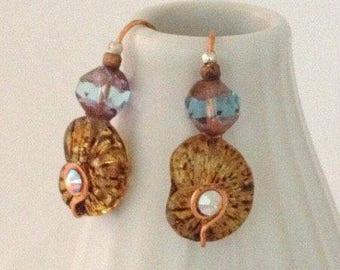 Handmade Amber Nautilus Earrings, Czech Glass, Swarovski, Copper, Drop Earring