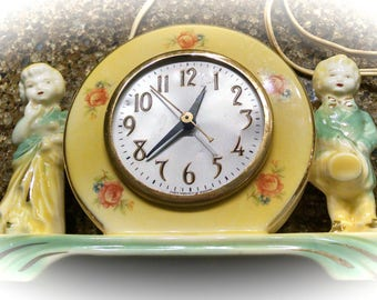 Porcelain Clock Base / Needs New Works / Vintage Mantle Clock /  Shabby Chic Clock Base / 1950s Clock for Parts or Repair / Photo Prop
