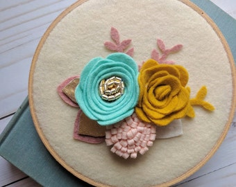 """6"""" Floral Hoop Wall Decor   Teal, Mustard yellow, pink, rose, gold"""