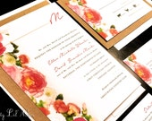 Watercolor Rose Flower Monogram Custom Unique Wedding Invitation Paint Outdoor Floral Leaves Unique Spring Summer Fall Kraft Whimsical Red