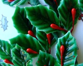 Half Dozen Vintage Gorgeous Holly Millinery Christmas picks