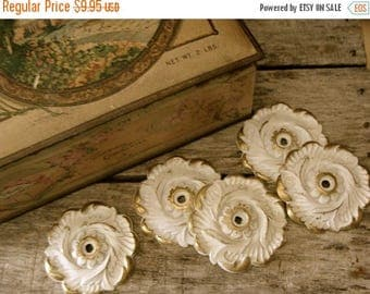 ON SALE One Vintage Chippy Salvaged Antique Drawer Plate Hardware