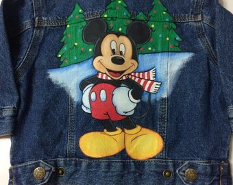 Ready to ship....Custom Disney Christmas Mickey jean jacket size 12 months boy or girl