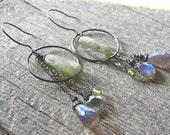 Green Kyanite, Peridot and Labradorite Silver Circle Boho Earrings