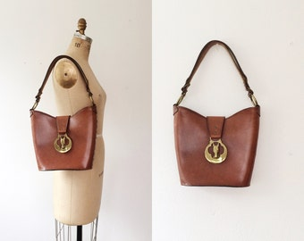 70s leather purse / handcrafted leather purse / Bridle leather bag