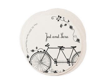Wedding Letterpress Coasters - Tandem Bike - Custom Favor Save the Date Decoration Bar Accessory Invitation
