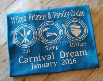 Custom cruise t-shirts. You choose colors. Size 2T to adult 3X. Eat Sleep Cruise. Family cruise shirts. Group cruise shirts.