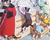 Vintage Alfred Manzer Cat Postcard, Shopping, Mischeivious, Unused, Decaled Edge, Kittens, 1950's, Animals as People, Cats, Belgium