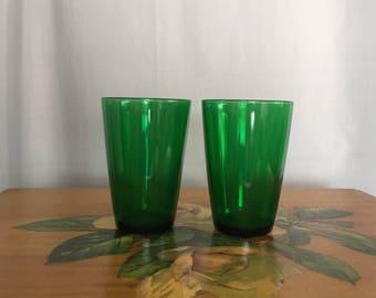 Green Glasses Set of 2 Vintage Glassware