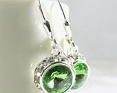 Peridot Crystal Earrings, Apple Green Swarovski, Round Silver Rhinestone, Dangle, Bridesmaid Bridal Jewelry, Spring Wedding, August Birthday