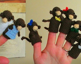 Crochet Five Little Monkeys finger puppets