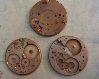 Vintage pocket Watch movement parts - Pocket watch plates Steampunk - Scrapbooking E46