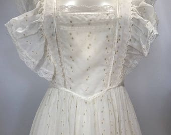 RESERVED - Not for Sale - Vintage 70s Faux White Eyelet Gunne Sax Prairie Maxi Dress S