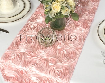 Light Pink Blush Satin Ribbon Rosette Table Runner Light Dusty Rose Runner