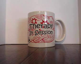 Therapy In Session Woman at Sewing machine quilts cat Coffee Mug Cup
