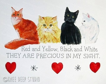 Cats Painting four cats watercolor fine art original red yellow black and white contemporary wall decor Precious Animals series kittens art