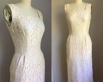 Vintage 1950s Ivory Lace Wiggle Dress by Parade Size XS